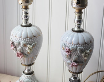 VIntage Lamps White Hobnail With Roses
