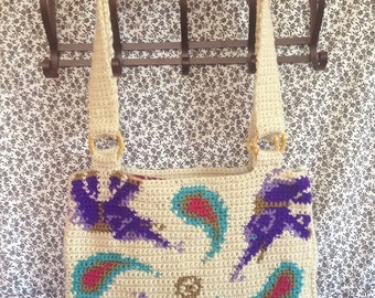 Paisley Elephant Tapestry Crochet Tote Bag/ Ready to Ship/ One of a Kind