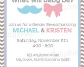 He or She Gender Reveal Printable Invitation - pink blue mustache bow party invite diy