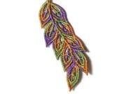 1 Lace Feather, Perfect for Wedding Favors, Ornament, Tag for Gift Box (B)