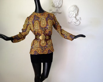Mad Men Blouse Vintage 1960s 60s Paisley Print Tunic Top Regal Gold Purple and Rust Mid Century Sophisticated Office Attire by Alex Coleman