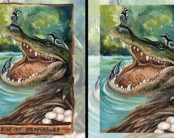 Alligator Art, Any Size Print, Bird Illustration, Crocodile Artwork, Animal Totem, Six of Pentacles Tarot Card, Animism Tarot Deck