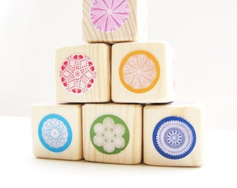 Childrens Blocks. Colorful / Rainbow. kids. circles. Shabby Chic Nursery Decor.  Baby Shower.  Wood blocks. Toy.