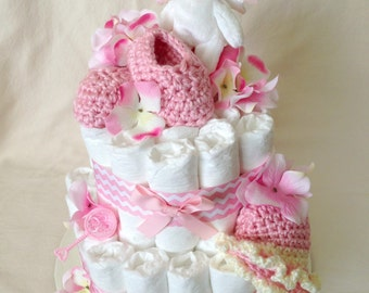 Baby Girl Diaper cake - Two Tier Diaper Cake - made to order