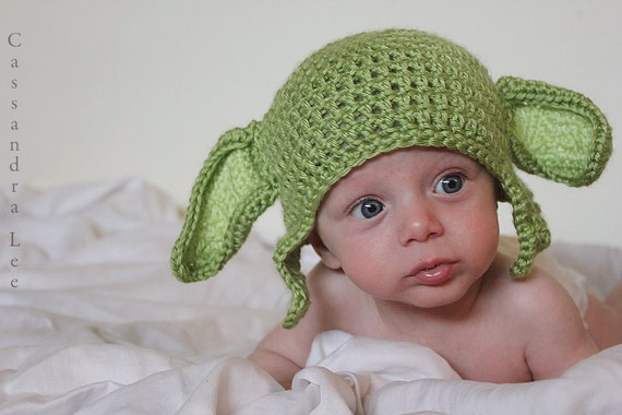 Crochet baby beanie yoda size 3 to 6 mos an adorable baby