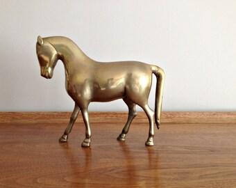 Vintage Brass Horse Figurine Statue