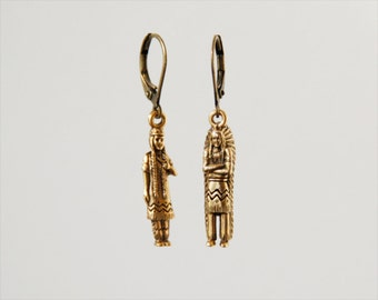 "american indian earrings // brass figurines // ""TRIBE"""