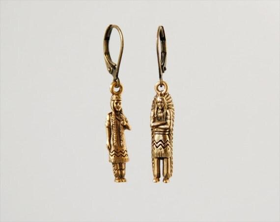 "american indian earrings // brass figurines // ""TRIBE"""