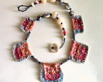 Prayer Flag Textile Art Clay Bead Statement Necklace One of a Kind Red gray white