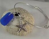 Cobalt Blue Sea Glass Adjustable Bangle