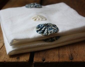 Blues Yoyo dish towels, Flour Sack Dishtowel, Tea Towel, Blue and Ecru