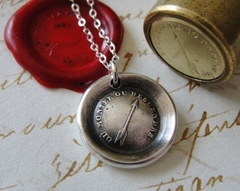Wax Seal Necklace - To Rise - antique wax seal jewelry - Stay Positive