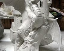 Warrior Dragon, Doc Holliday Dragon, Fantasy Dragon, Armored Dragon, Renaissance Dragon, Ceramic bisque,u-paint,Ready to paint,