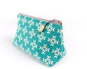 Small Makeup Cosmetic Bag in Cute Geometric Linen Gift for Woman