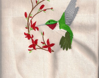 New Tea Kitchen towel embroidered HUMMINGBIRD