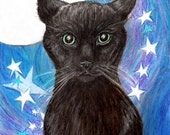 "Moon Cat Art / Original Illustration by Maine Artist Chrissie Hughes 8x10"" Drawing Feline Haunted Halloween Canvas mounted wicca stars - OldSewlVintage"