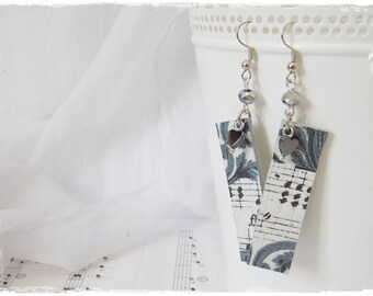 Gothic Leather Earrings, Decoupage Victorian Earrings, Music Note Earrings, Long Leather Earrings, Leather Jewelry, Gothic Goth Earrings
