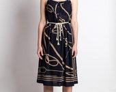 Vintage Dress Japanese S// 70s Dress// Rope Motion Dress// Summer Black Chiffon Japan