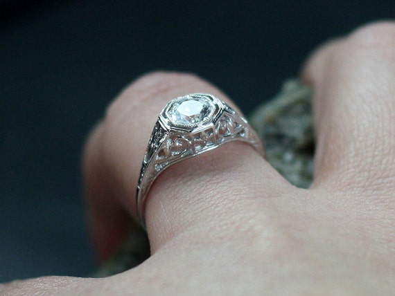 White Sapphire Engagement Ring Natural Antique Style Filigree