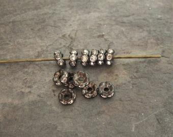 Tiny 4mm Wavy Rhinestone Rondelle Beads Brass OX Clear Czech Glass (12)