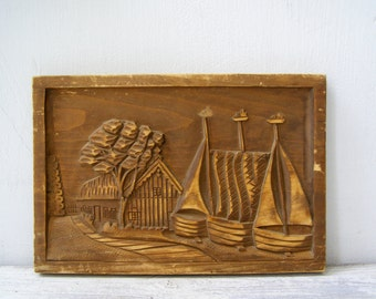 Boats Wood Relief Picture, Handcarved Wooden Plaque Village Beach Wall Art, Rustic Cottage Wall Art Engraved Wood Panel, Man Cave Decor