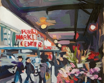 "Springtime at Pike Market in Seattle, Original Acrylic Painting on Paper // Seattle no. 2 // 8"" x 11"""