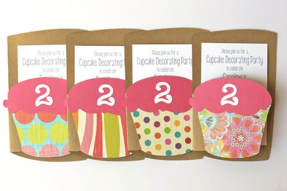 Cupcake Invitation Girls Birthday Party Invite Cupcake Crawl Tea Party Invitation Pink Cupcake Theme Party Colorful Invitations / Set of 10