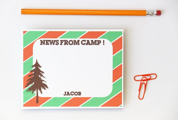 Camp Stationary Personalized Boys Camp Note Cards Letters From Camp Boys Summer Camp Note Cards Orange and Green Pine Tree Cards / Set of 10