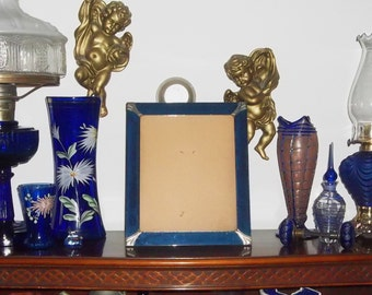 Art Deco Cobalt Blue Mirror Glass Picture Frame with Silver Accents Easel Back Antique Wedding Photo Frame