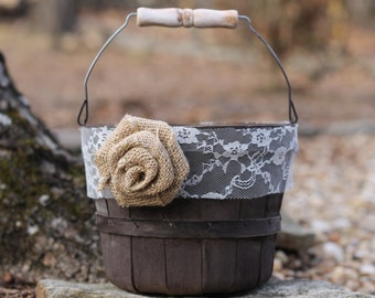 Flower Girl Basket Rustic Shabby Chic Lace Burlap Rose