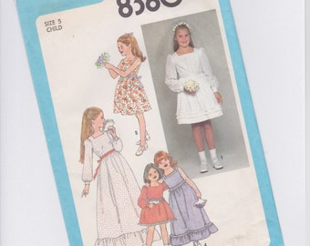Vintage Simplicity 8380 Girls Dress UNCUT SEWING PATTERN - 1978 - Size 5 - Wedding Flower Girl
