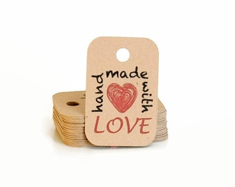 Hang Tags - Kraft Tags - Mini Hang Tag - Gift Tags - Handmade with Love Gift Tags