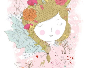 Children's illustration art - Miss Spring