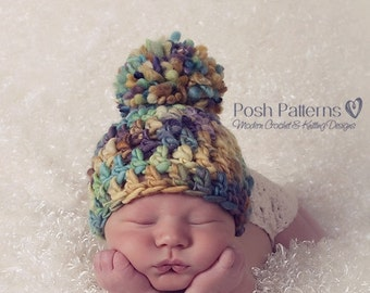 Crochet PATTERNS - Crochet Hat Pattern - Hand Spun Yarn Beanie - Includes Baby, Toddler, Kids, Adult Sizes - Photo Prop Pattern - PDF 225