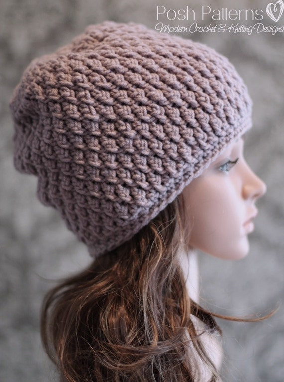 Crochet PATTERN Crochet Slouchy Hat Pattern Cable Crochet