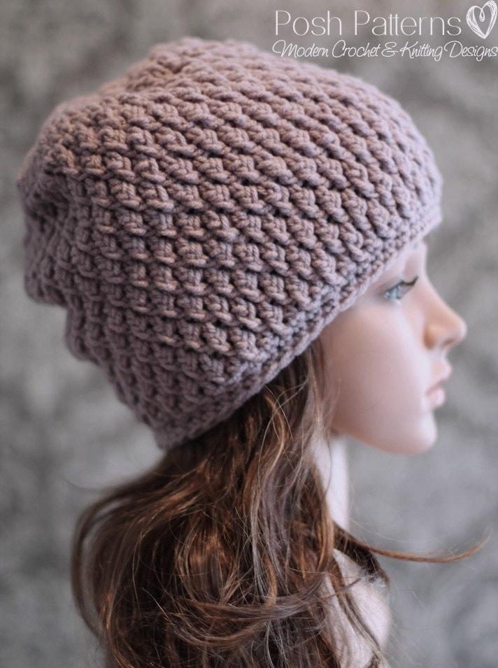 Crochet Pattern Hat Sizes : Crochet PATTERN Crochet Slouchy Hat Pattern Cable Crochet