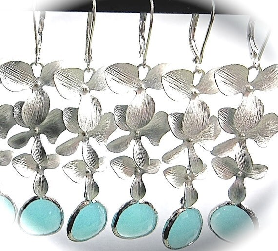 Cascading silver orchid earrings - Long -  Destination wedding jewelry ~ Sterling silver ear wires - Bridesmaids Jewelry ~ Beach lover gift