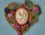 """Neo-Victorian Beaded Heart """"Cupids Playing in the Arbor""""  Brooch Pendant, Flowers, Brass, Hearts, Bronze Seed Beads, Dusty Rose Faux Pearls"""