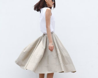 New Design Romantic Bud Skirt Cotton Skirt in Khaki - NC515