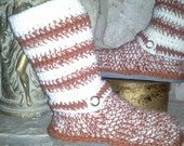 "Custom Order Burnt Orange & Ivory ""Urban Spirit"" Crochet Sweater Boots size Medium(7-8) Show your Team Spirit"