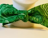 Rose Fabric Self-tie Bow Tie:  Green RTS, various colors available to order
