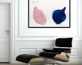 Large Abstract painting of Large Mason Jars, 28X40, Acrylic Painting, Large Painting, Made to order, Pink Painting, Blue
