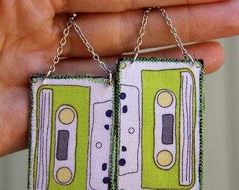 Retro cassette tape earring - funky lime green retro jewelry - lightweight dangle earrings