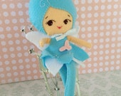 Felt Fairy Doll with blue or purple dress and pink butterflies
