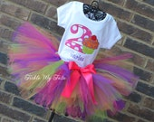 "Cupcake Swirl ""Neon""  Birthday Tutu Outfit,  First Birthday Cupcake Tutu Set, Cupcake Birthday Tutu Set"