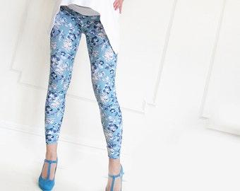 Maternity Fashion Floral Blue Print  Leggings Over Bump, Maternity, Maternity Pants, Maternity Clothing, Women Fashion, Leggings