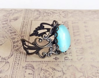 Blue Turquoise Ring Gift Fantasy Folklore Antique Brass Vintage Style Glow Moonstone Glass Ring Gothic Exotic Statement Adjustable Ring