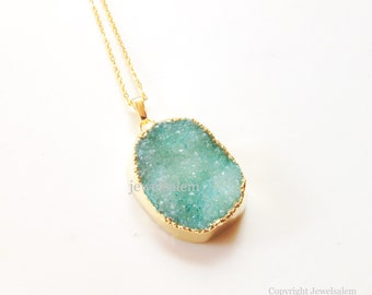 Druzy Necklace Aqua Mint Geode Drusy Rough Gem Stone Gold Edge Layered Long Raw Mineral Pendant Rustic Statement Chunky Crystal Quartz C1