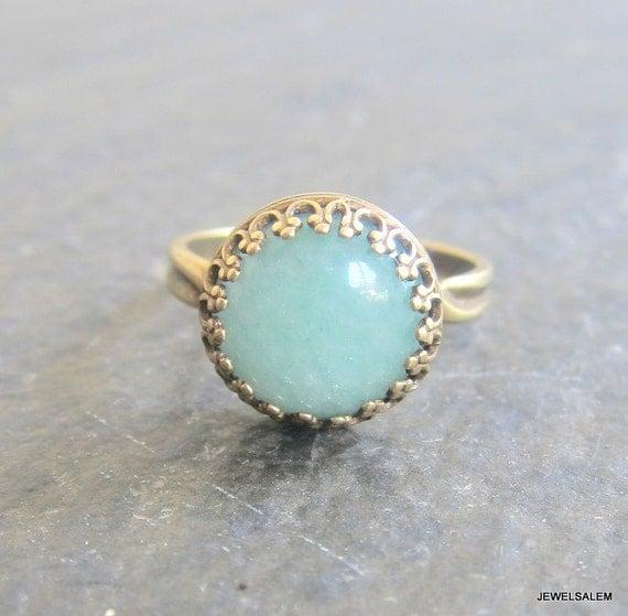 Aventurine Ring Aqua Teal Green Jade Statement Ring Exotic Gemstone Ring Mint Stone Ring Gold Antique Brass Adjustable Green Stone Ring