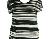 Black & White Striped  TShirt, Plus Size Shirt, Oversized Summer Shirt,  Designers Shirt, Tshirt